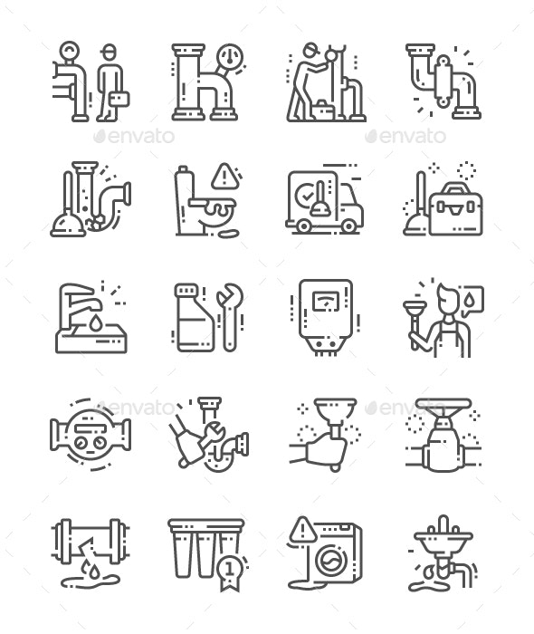 Plumbing Elements Line Icons - Objects Icons