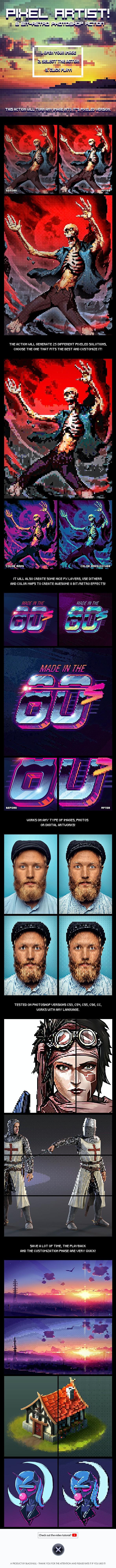 Pixel Artist - 8 Bit Retro - Photoshop Action - Photo Effects Actions