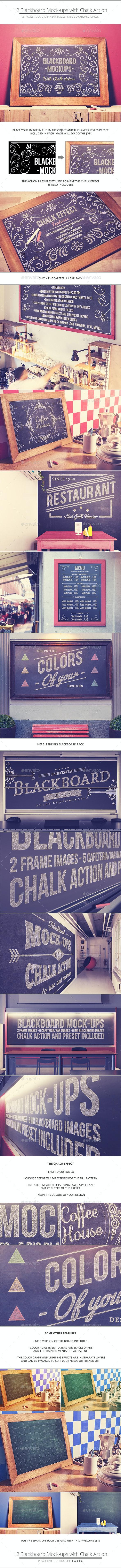 Blackboard / Chalkboard Mock-ups with Chalk Action - Miscellaneous Displays