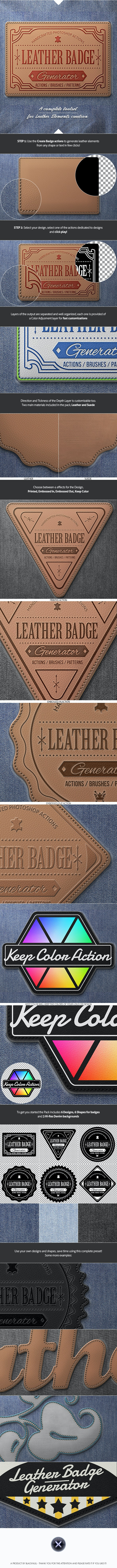 Leather Badge Generator - Photoshop Actions - Actions Photoshop