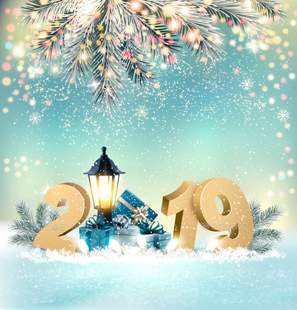 Merry Christmas Background with 2019 and Gift Boxes - New Year Seasons/Holidays
