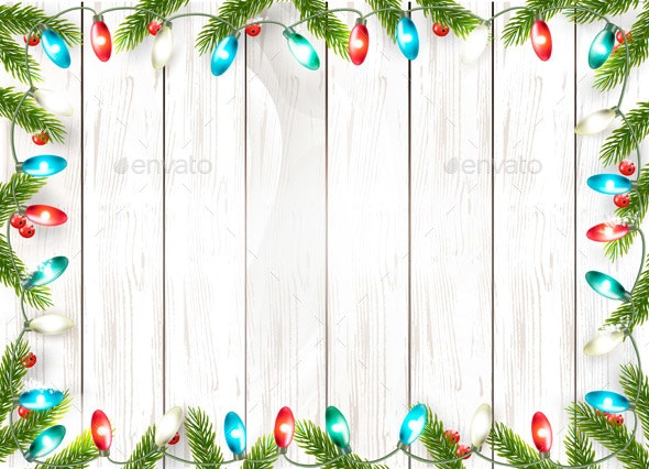 Christmas Holiday Decoration with Branches - Borders Decorative