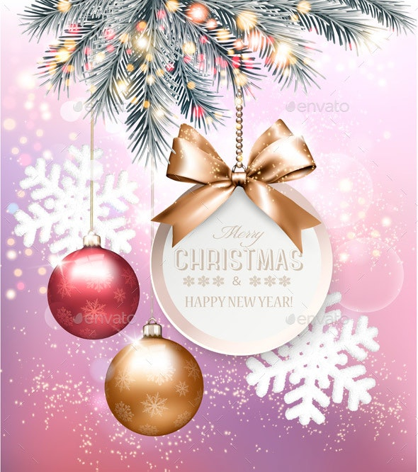 Holiday Christmas Background With Snowflakes - Seasons/Holidays Conceptual