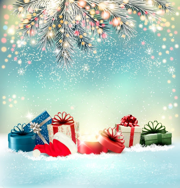 Holiday Christmas Background.Holiday Christmas Background With A Gift Boxes