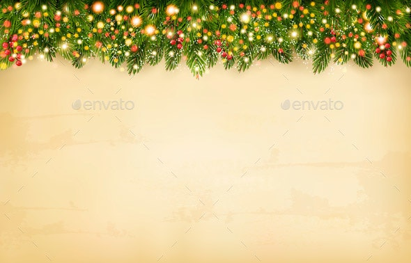 Christmas Holiday Decoration With Branches of Tree - Backgrounds Decorative
