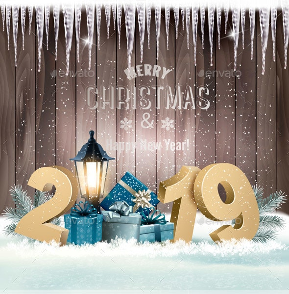 Holiday Christmas Background with a Gift Boxes and Lamp Post - Christmas Seasons/Holidays