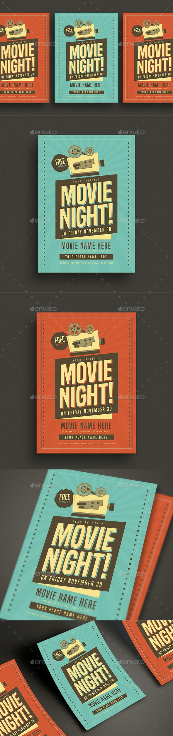 Retro Movie Night Event Flyer - Events Flyers