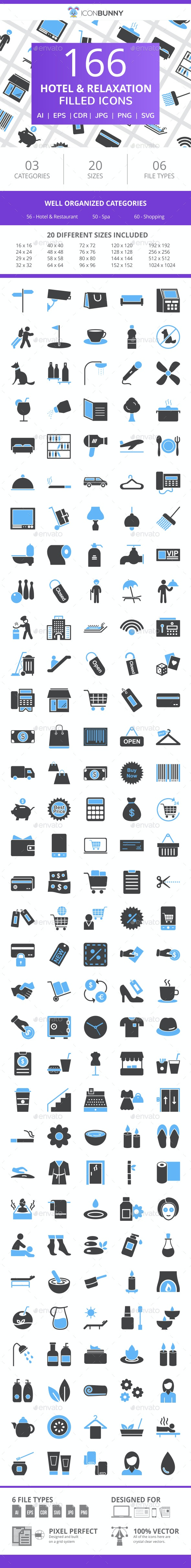 166 Hotel & Relaxation Filled Blue & Black Icons - Icons