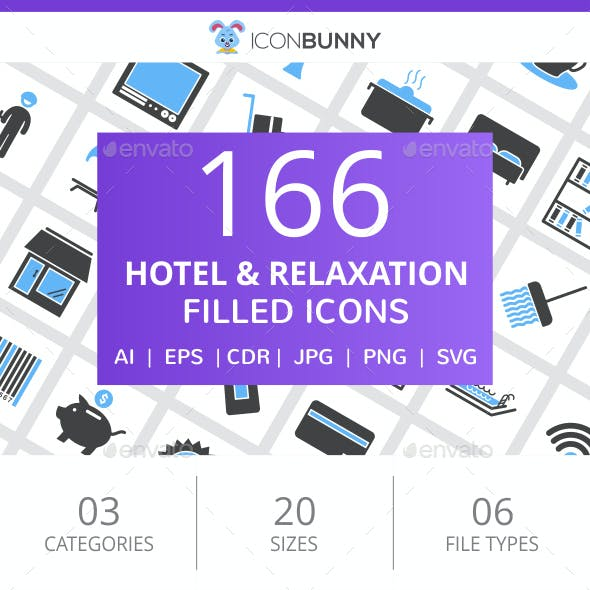 166 Hotel & Relaxation Filled Blue & Black Icons