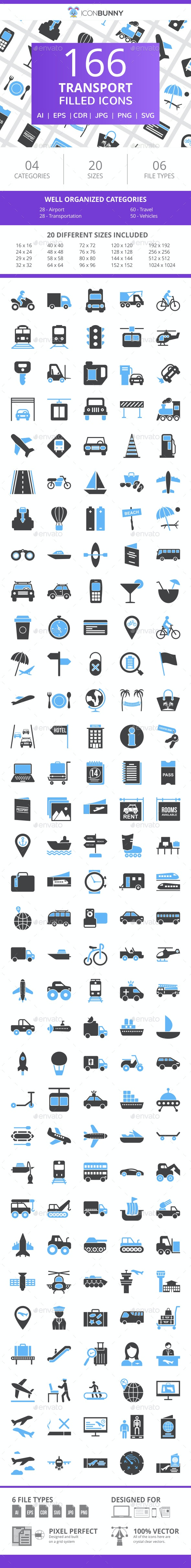 166 Transport Filled Blue & Black Icons - Icons