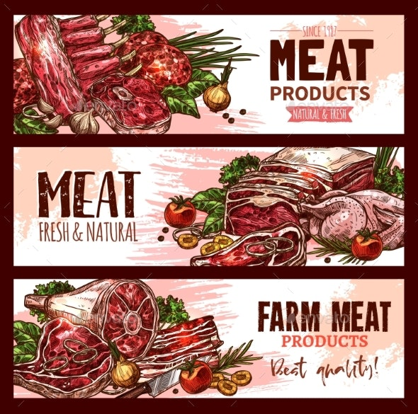 Vector Meat Product Banners for Butchery Shop - Food Objects
