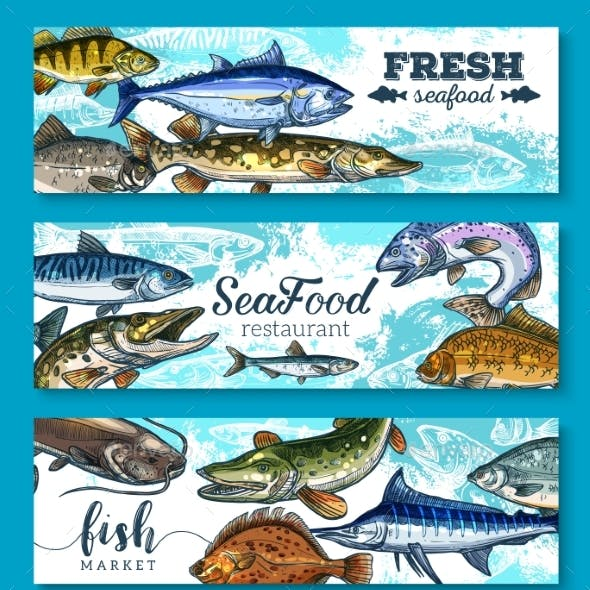 Vector Fresh Seafood and Fish Banners Set