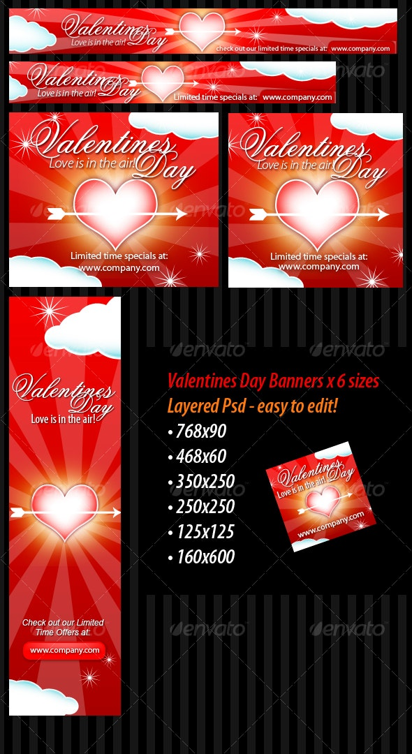 Valentines Day Banners - 6 sizes - Layered PSD - Web Elements