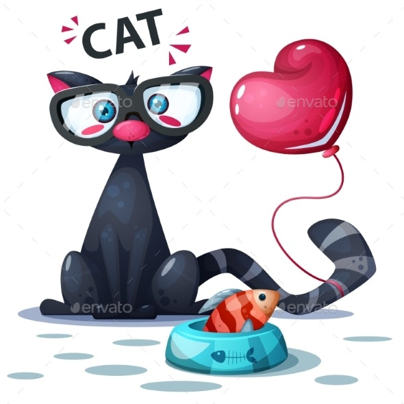 Cat with Fish and Air Balloon - Animals Characters