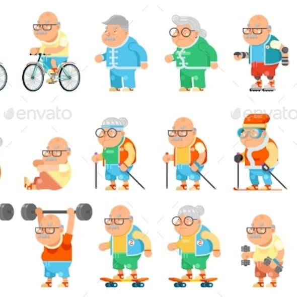 Healthy Activities Fitness Granny Grandfather