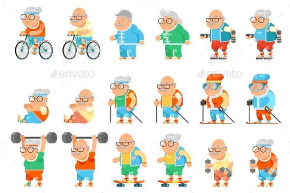 Healthy Activities Fitness Granny Grandfather - Sports/Activity Conceptual