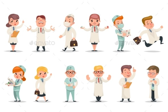 Medic Different Positions and Emotions - Health/Medicine Conceptual