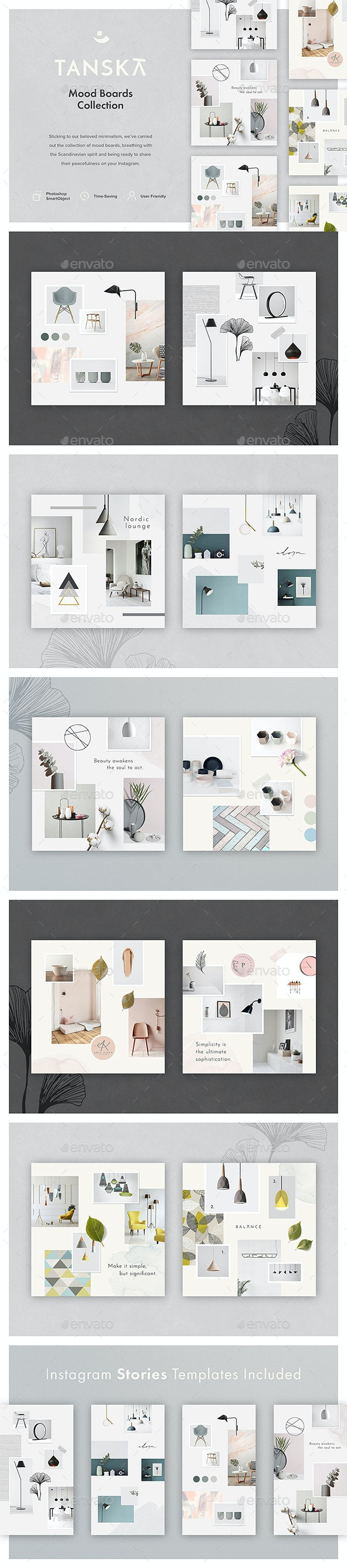 Tanska Mood Boards Collection - Social Media Web Elements