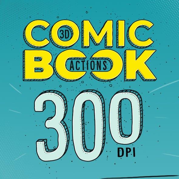 3D Comic Book - 300 DPI Actions