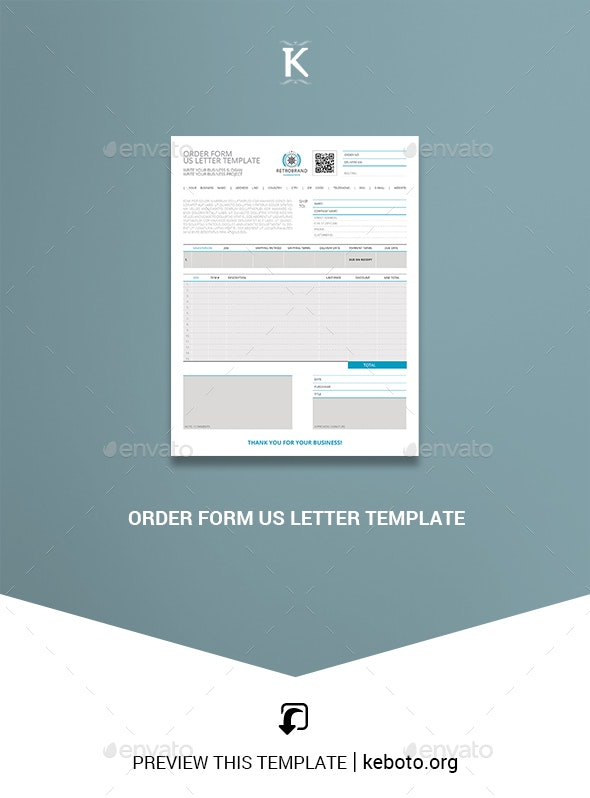 Order Form US Letter Template - Miscellaneous Print Templates