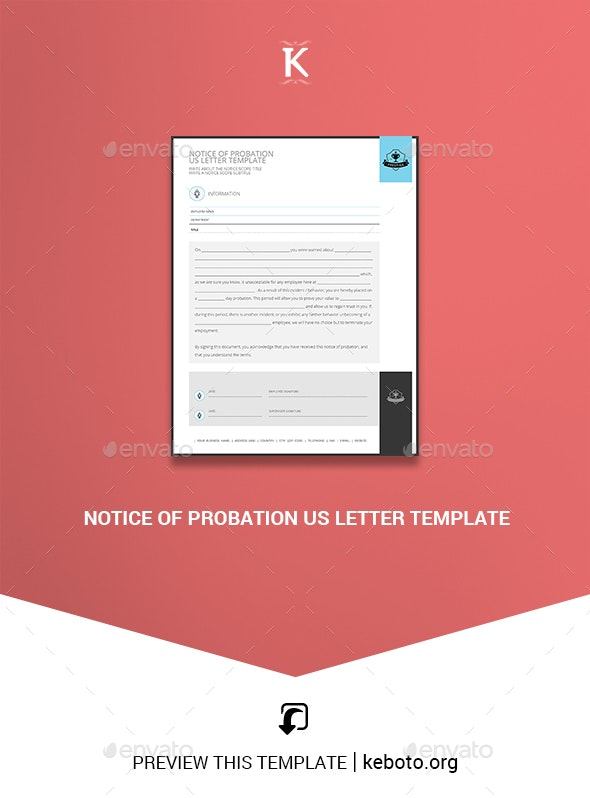 Notice of Probation US Letter Template - Miscellaneous Print Templates