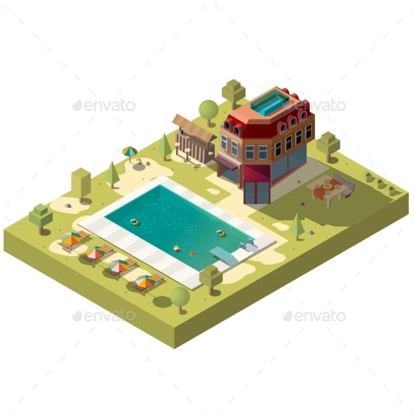Resort Hotel with Swimming Pool Isometric Vector - Sports/Activity Conceptual