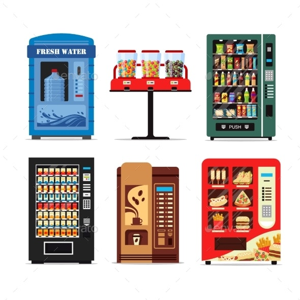 Set Vending Machines Full of Products - Man-made Objects Objects