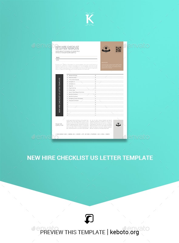 New Hire Checklist US Letter Template - Miscellaneous Print Templates