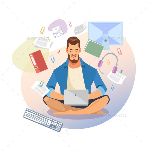 Student Use Laptop for Distance Learning Vector - People Characters