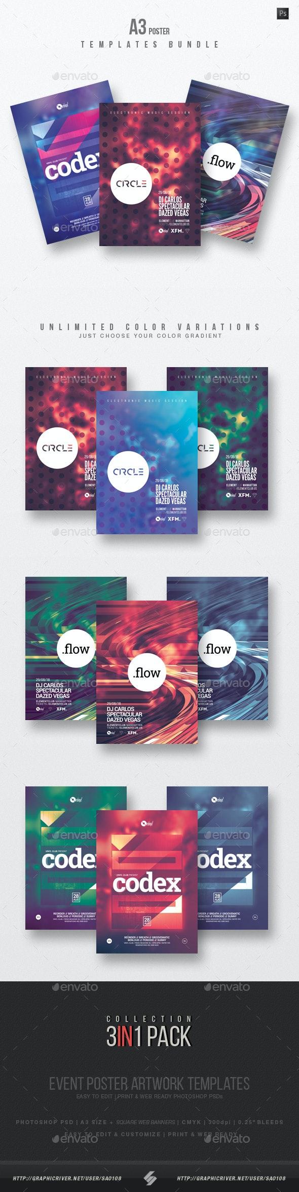 Minimal Sound vol.9 - Club Party Flyer / Poster Templates Bundle - Clubs & Parties Events