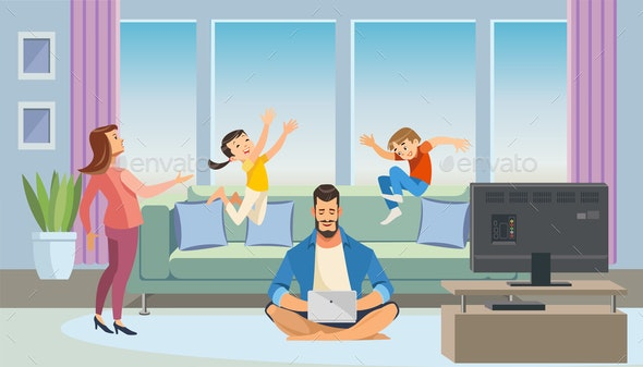 Father Working at Home Cartoon Vector Concept - People Characters