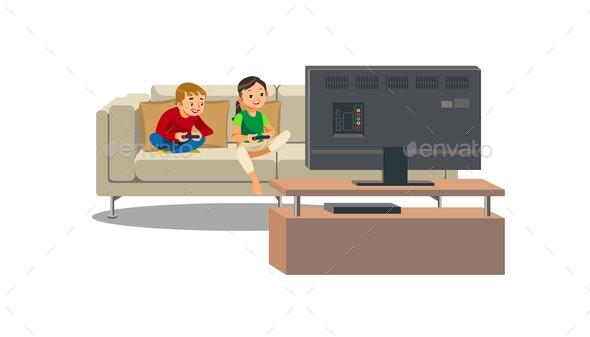 Siblings Playing Video Game at Home Vector - People Characters