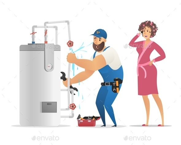 Vector Illustration Concept Plumber Service - Services Commercial / Shopping