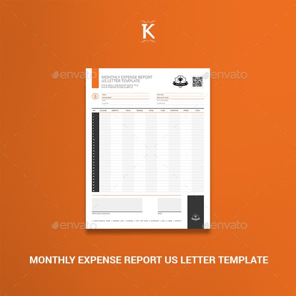 Monthly Expense Report US Letter Template