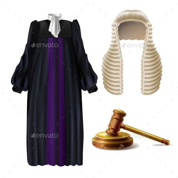 Judge Formal Dress and Gavel Realistic Vector - Man-made Objects Objects