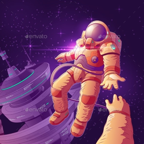 Romantic Date in Outer Space Vector Concept - Technology Conceptual
