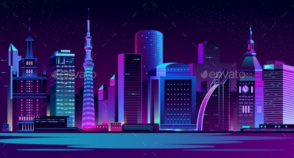 Illuminated Modern City Night Landscape Vector - Buildings Objects