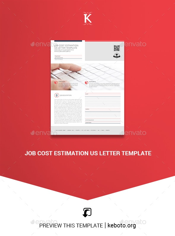 Job Cost Estimation US Letter Template - Miscellaneous Print Templates