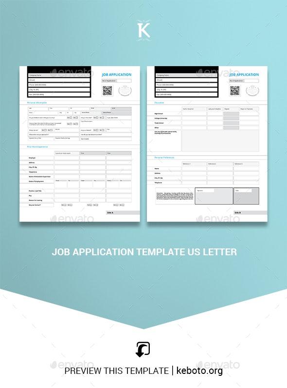 Job Application Template US Letter - Miscellaneous Print Templates