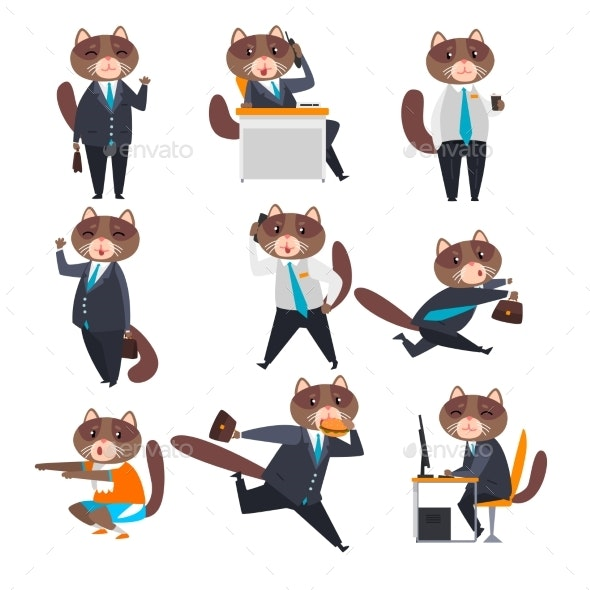 Businessman Cat in Different Situations - Concepts Business