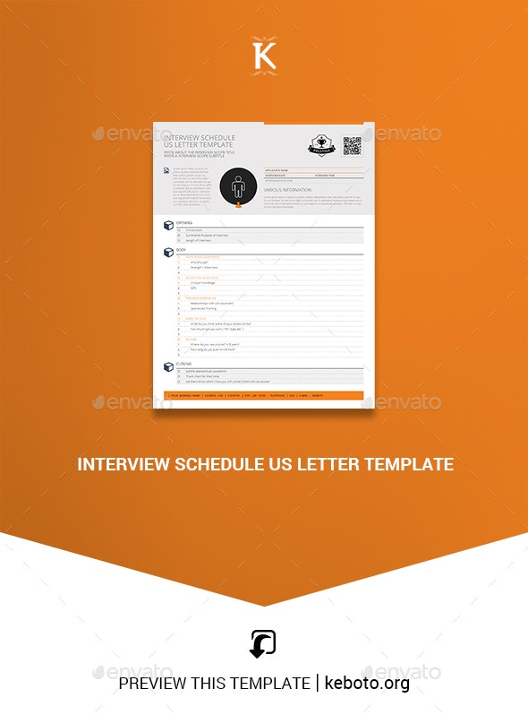 Interview Schedule US Letter Template - Miscellaneous Print Templates