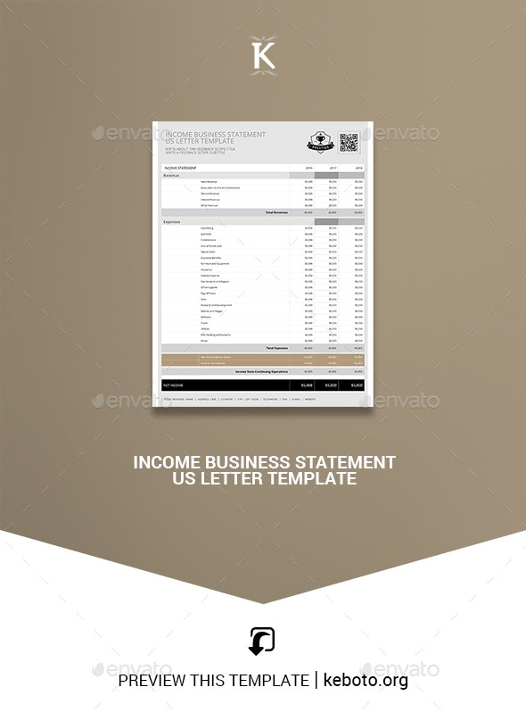 Income Business Statement US Letter Template - Miscellaneous Print Templates