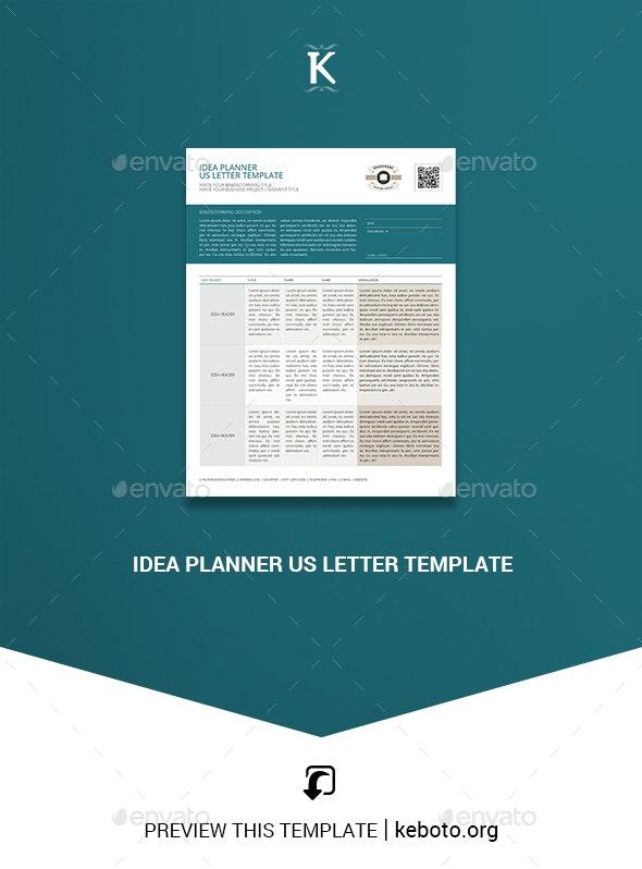 Idea Planner US Letter Template - Miscellaneous Print Templates
