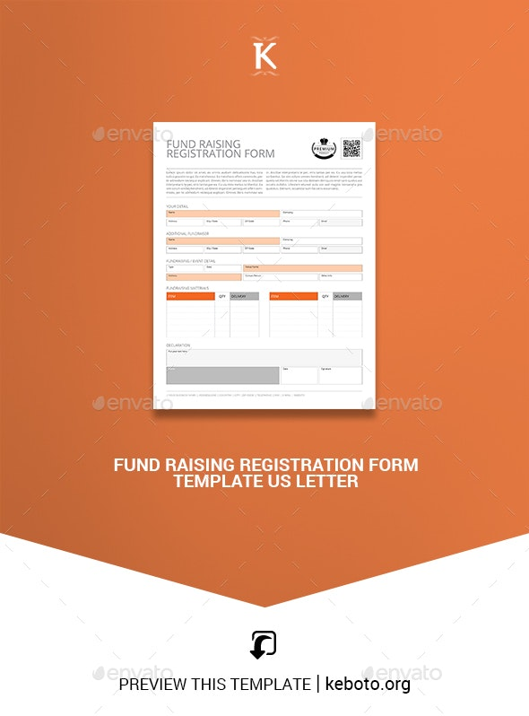 Fund Raising Registration Form Template US Letter - Corporate Brochures