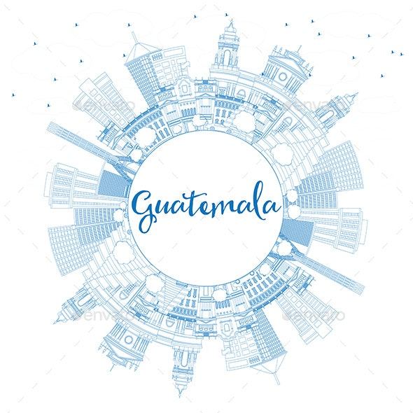 Outline Guatemala Skyline with Blue Buildings - Buildings Objects