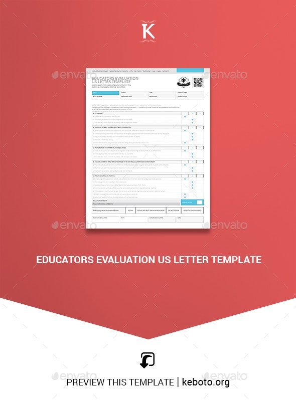 Educators Evaluation US Letter Template - Miscellaneous Print Templates