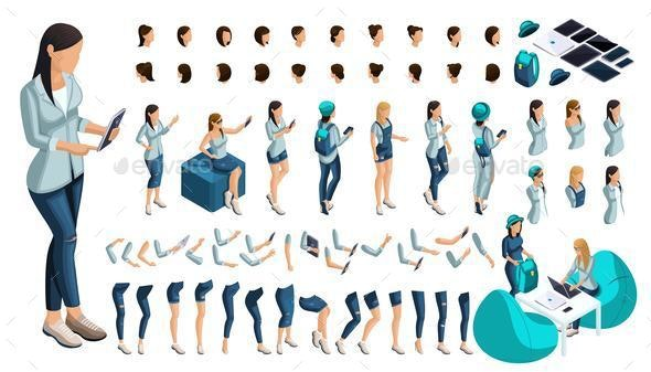 Set for Creating Your Character in Isometric - People Characters