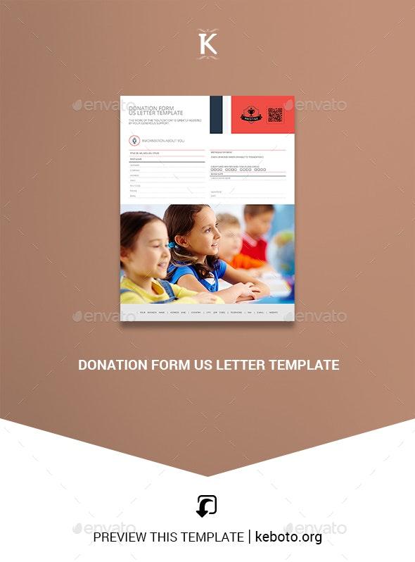 Donation Form US Letter Template - Miscellaneous Print Templates