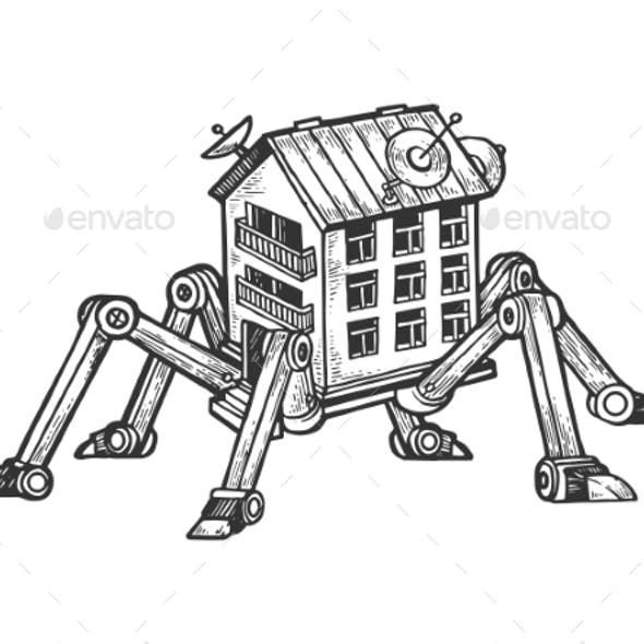 House on Spider Legs Engraving Vector