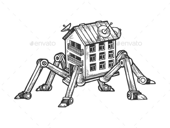 House on Spider Legs Engraving Vector - Miscellaneous Vectors